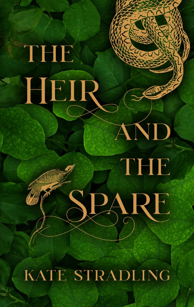 The Heir and the Spare cover: a gold snake and bird face off against a leafy green backdrop